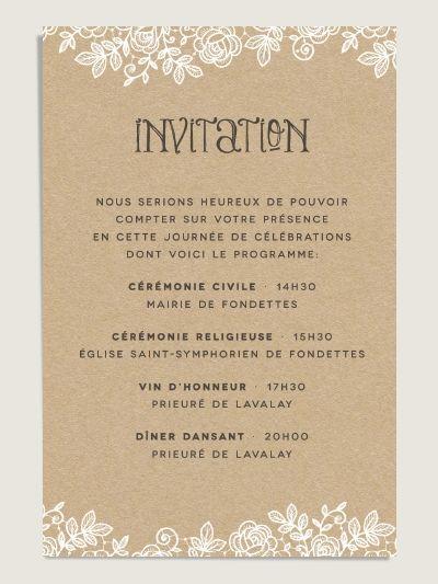 carte invitation mariage dentelle our wedding cards pinterest. Black Bedroom Furniture Sets. Home Design Ideas