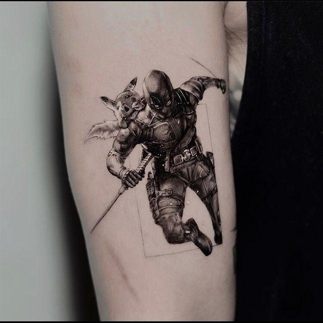 Deadpool & Pikachu tattoo work @ogitattooer _______  Comment below if You like this 💕  credit  @theartoftattooingofficial 💘 Tag your friends 👇 #tattooedguys #tattoostyle #tattooboy #dotworktattoo #tattooedgirls #tattooworld #tattoosnob #tattoobrasil #tattooaddict #tattooart #tattoosofinstagram #tattoocommunity #tattoos_of_instagram