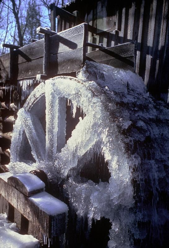 Winter - Frozen Cable Mill Wheel - During cold spells in winter the water wheel at Cable Mill in Cades Cove becomes an ice sculpture.