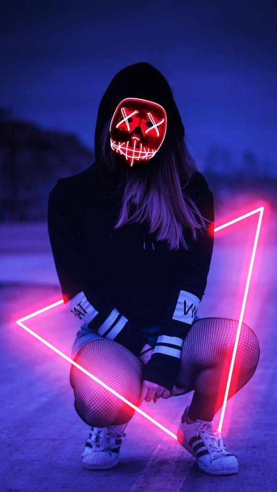 Led Mask Girl Mobile Wallpaper Girl Iphone Wallpaper Neon Girl Cyberpunk Girl