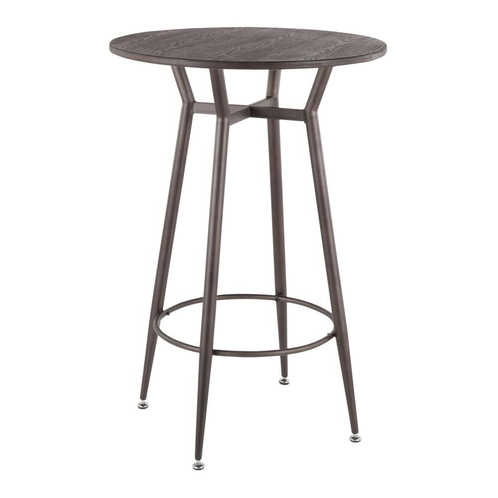 b116014e0646a Lumisource Clara Industrial Round Antique Metal and Espresso Wood Bar  Table