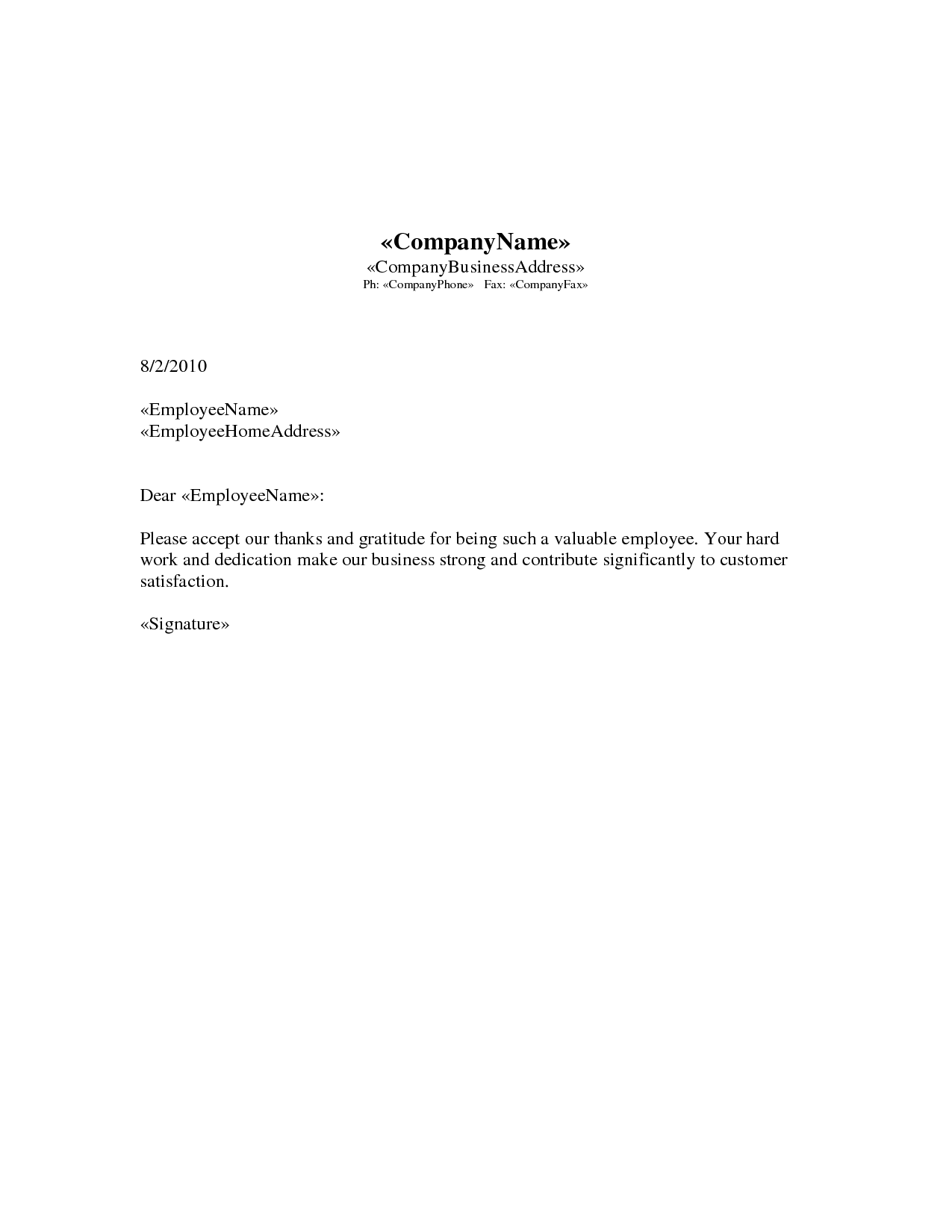 appreciation letter | images of employee appreciation letter doc ...