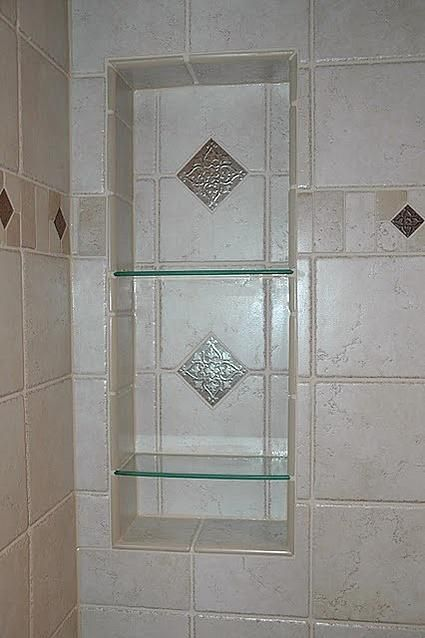 Shower Niche With Glass Shelf, Detailed Tile