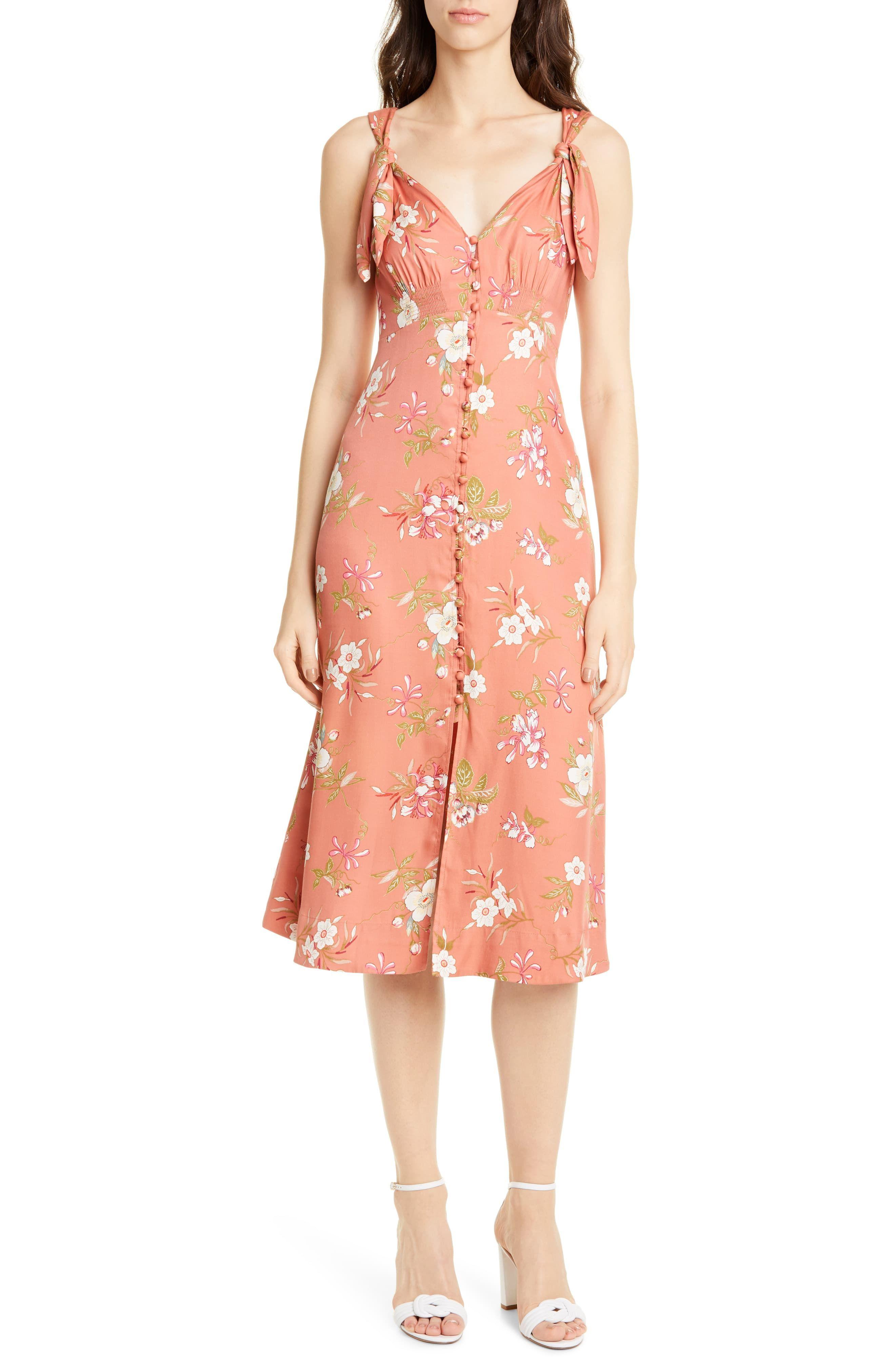 0417971e0 Women's Rebecca Taylor Floral Lita Tie Detail Silk Blend Midi Dress, Size  14 - Orange