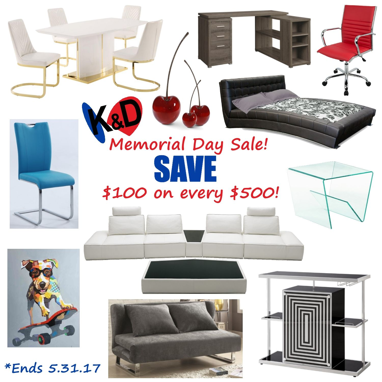 Memorial Day Sale Save 100 On Every 500 Spent Sale Ends 5 31 17 Houston Furniture Home Furniture Contemporary Furniture