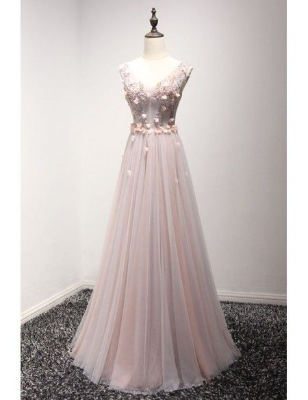 ec8e57b7f80 Romantic A-line V-neck Floor-length Tulle Prom Dress With Appliques Lace