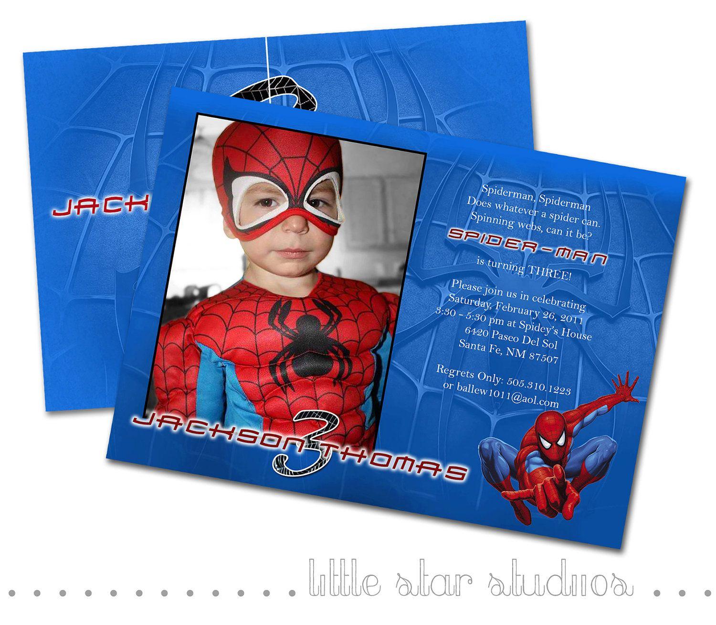 Spiderman Custom Photo Birthday Invitation