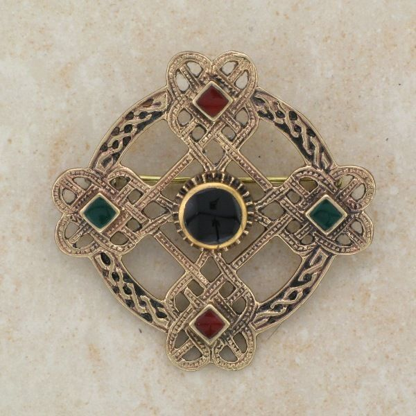 Irish Bronze Celtic Cross Brooch With Green And Black And