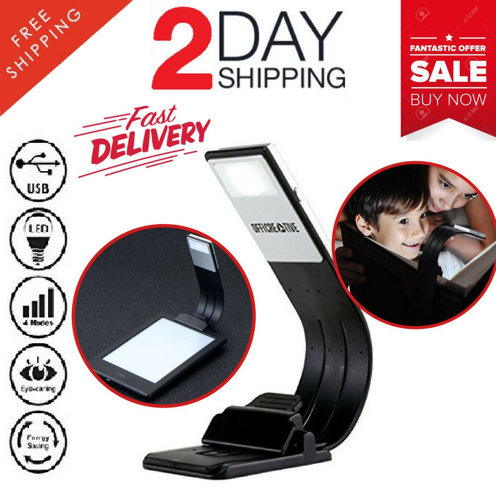 Clip On Book Reading Light Lamp LED for Bed Portable Night Travel Small Tiny USB
