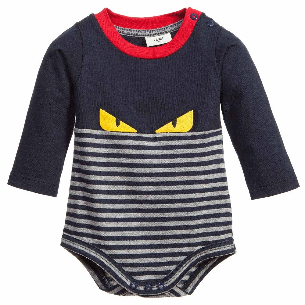 8f5dbd530 Baby Boys Navy Blue Striped  Monster  Bodyvest