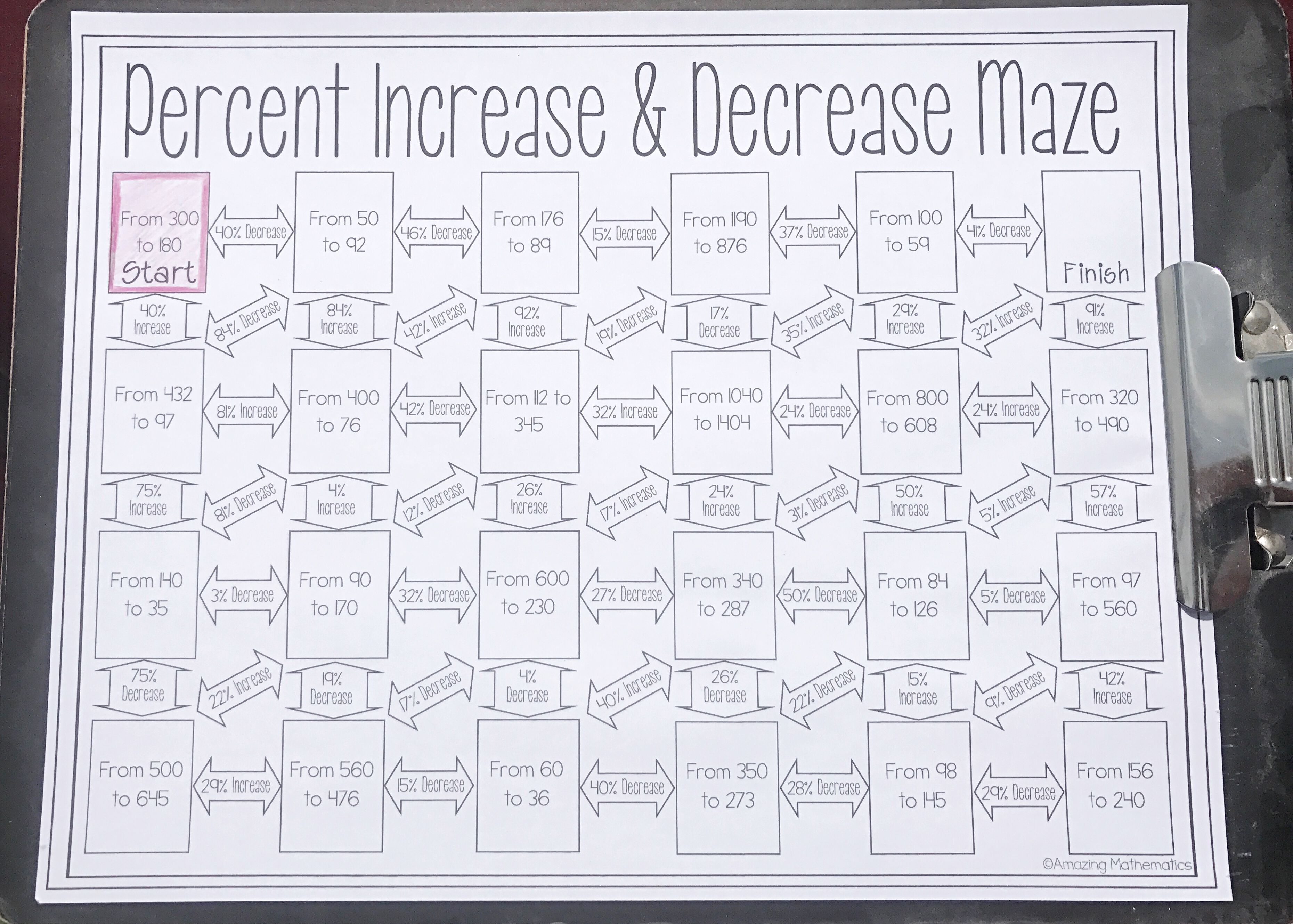 Percent Increase And Decrease Maze Worksheet With Images