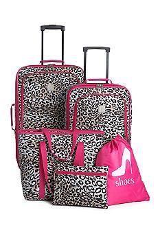 ebfceeb98530 5-Piece Luggage Set - Pink Leopard | My Christmas wish list ...
