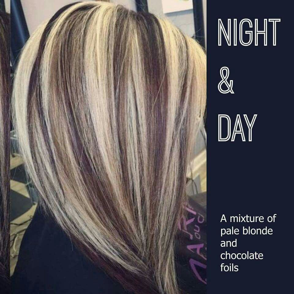 Night and day. A mixture of pale blonde and chocolate foils ...