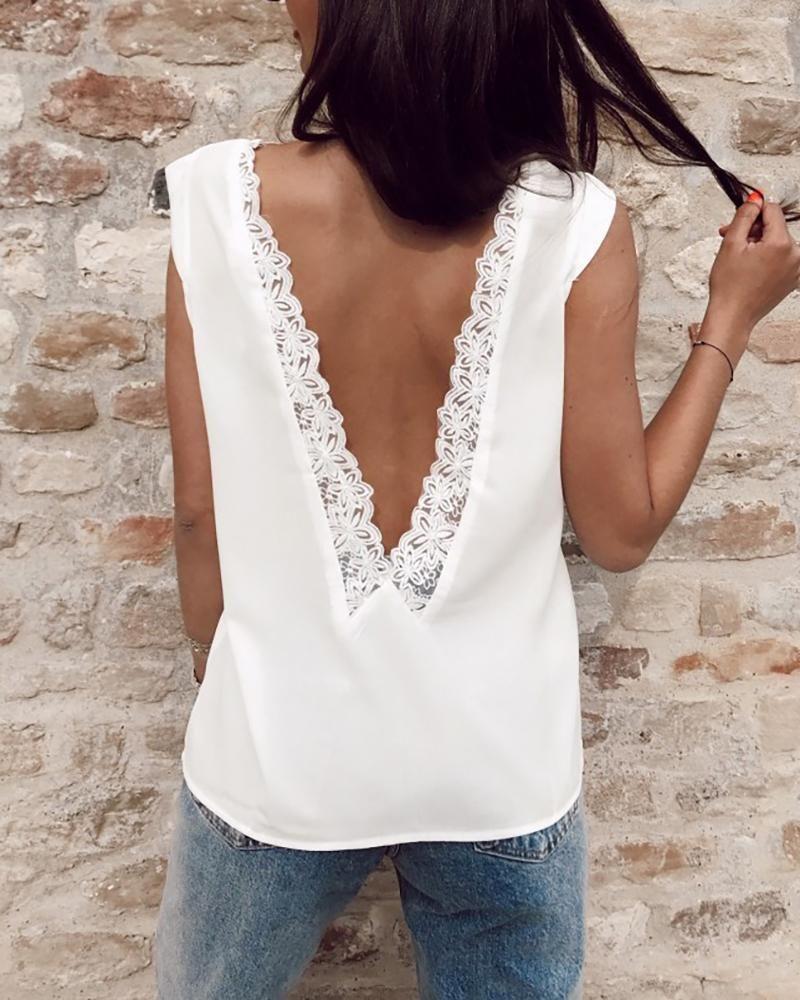 Women/'s Lace Wrap Back Contrast High Low Chiffon Ladies Sleeveless Vest Top