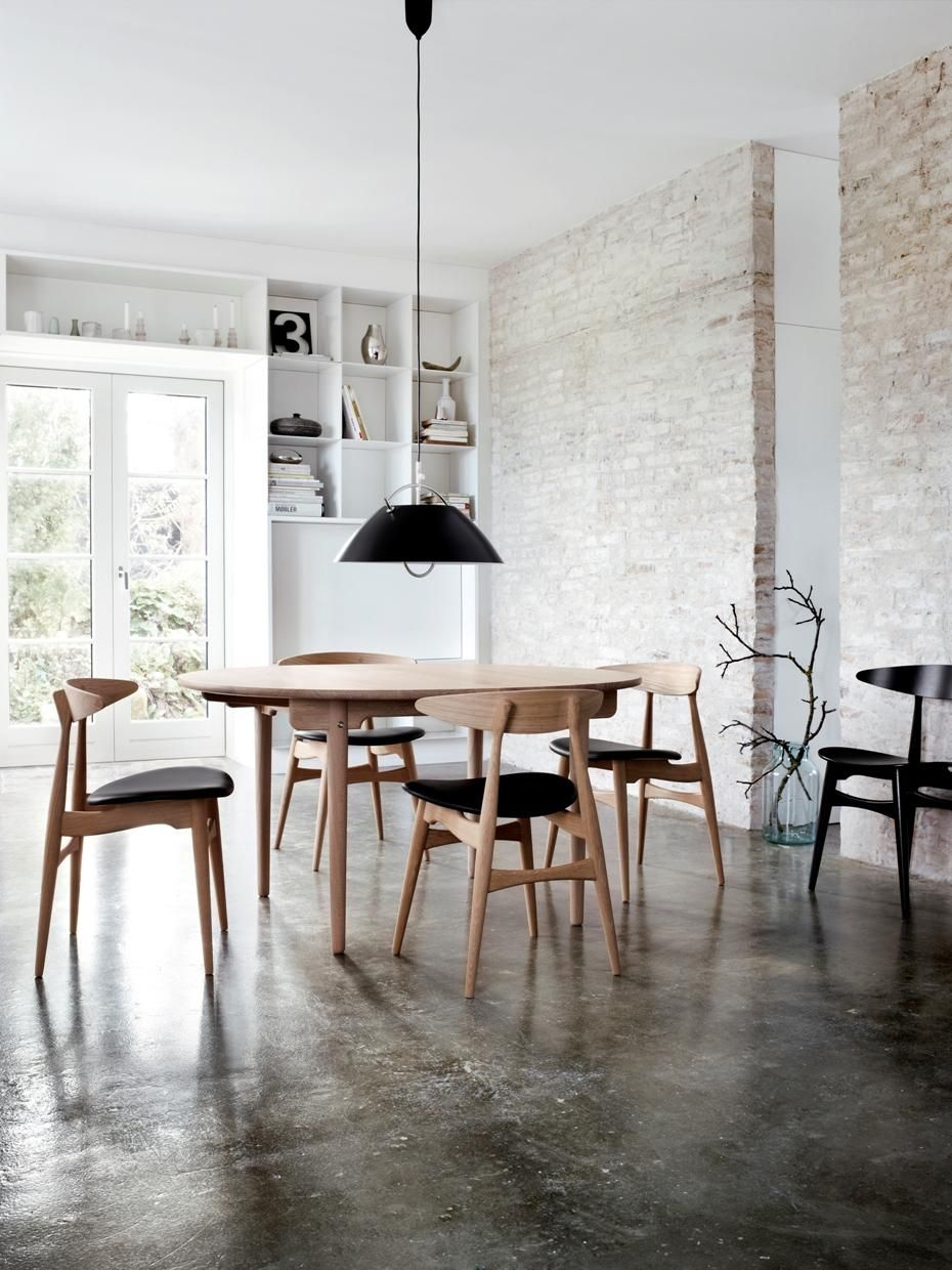 Urban rustic; stained concrete, exposed brick, clean lines, white ...