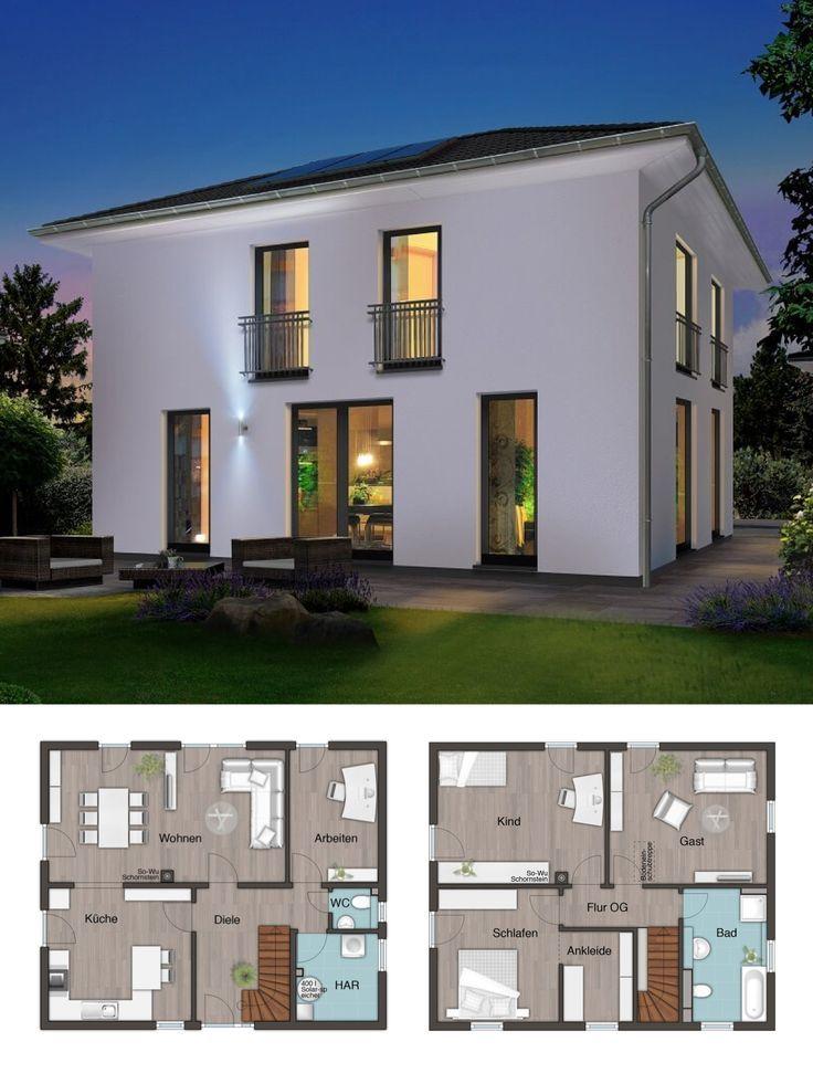 Elegante Stadtvilla Mit Walmdach Architektur Massivhaus Grundriss Flair 152 Re Town Country Haus Hausbaudirekt Town Country Haus Architektur Haus Grundriss