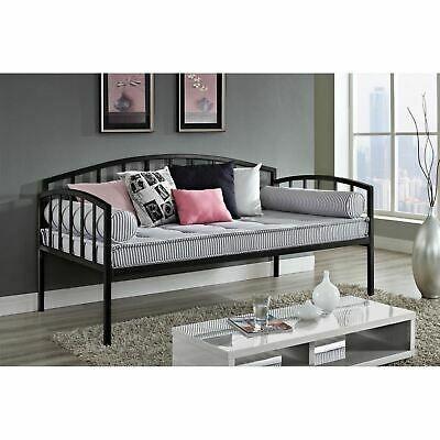 Details about Black Metal Daybed Frame Twin Size Bed Kids Bedroom Furniture Guest Dorm Home