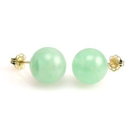 Green Jade Aventurine 8mm Ball Stud Post Earrings 14k Yellow Gold And Jewlery