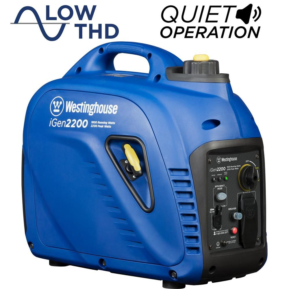 Westinghouse Igen2200 2 200 1 800 Watt Gas Powered Portable Inverter Generator With Enhanced Fuel Efficiency And Parallel Capability Igen2200 The Home Depot Portable Inverter Generator Inverter Generator Westinghouse