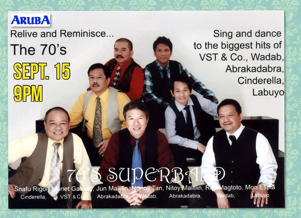 7ef14176c88f59 Back to the good old days with the 70 s Superband live at the Aruba Bar  tonight!