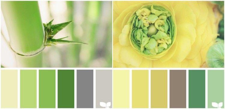 Grün Und Gelb Mit Grau Und Braun Kombinieren | Farbpalletten ... Gelb Grun Wandfarbe