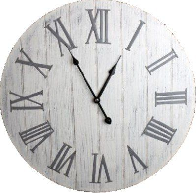 Antique White Wooden Wall Clock With Metal Roman