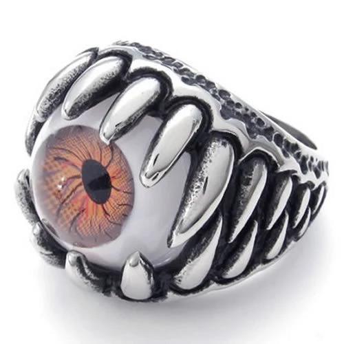 Stainless Steel Gothic Dragon Claw Devil Eye Biker Men Ring, Brown