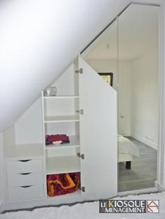 Placards sous mansarde avec portes miroir petite chambre - Dressing chambre mansardee ...