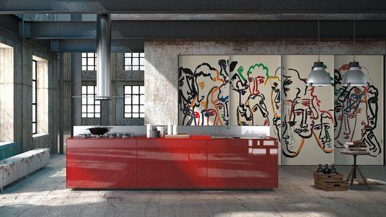 Artematica Vitrum Arte I Sandro Chia by Valcucine | Island kitchens ...