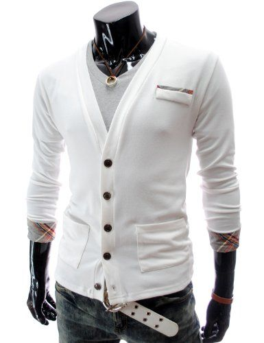 TheLees (GD72) Mens Casual Slim Fit Check Patched Cardigan $21.90 (save $7.60)