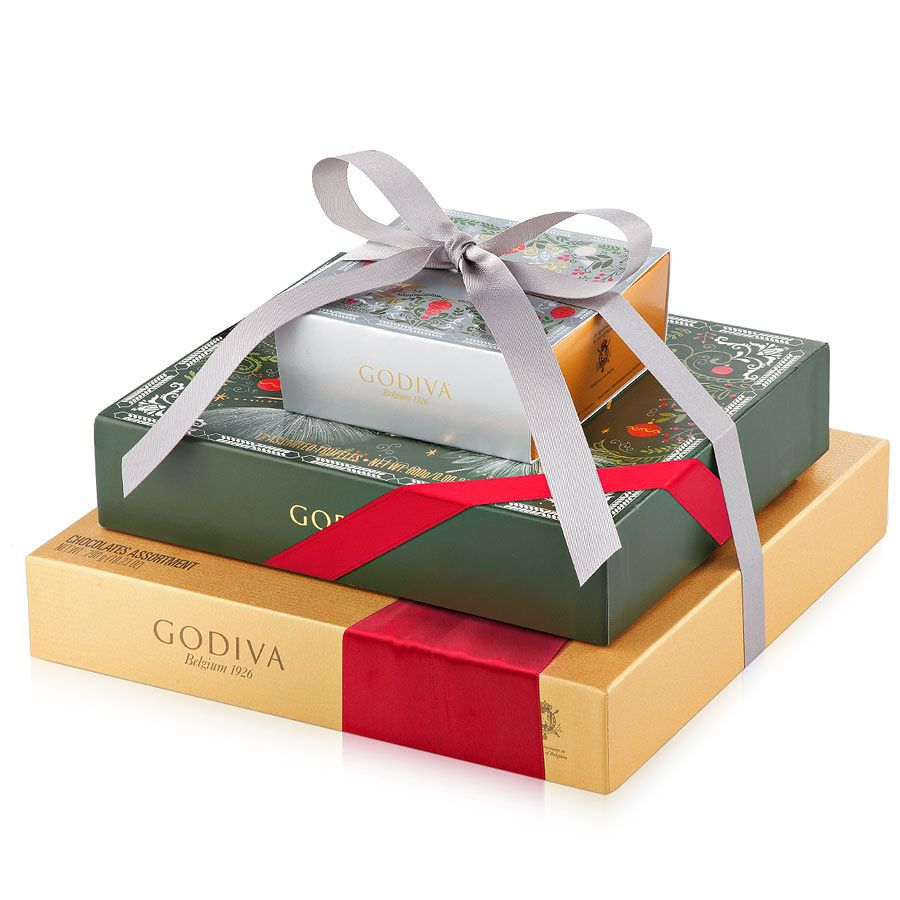 d96e8d8f8b76 Surprise and delight your loved ones this holiday season with a tempting  tower of Godiva Belgian chocolates and truffles.