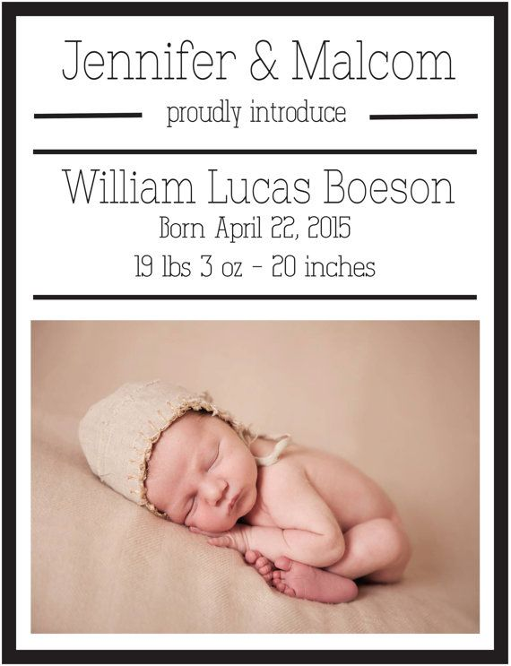 Baby Announcement Template for download and print Gender neutral - announcement template
