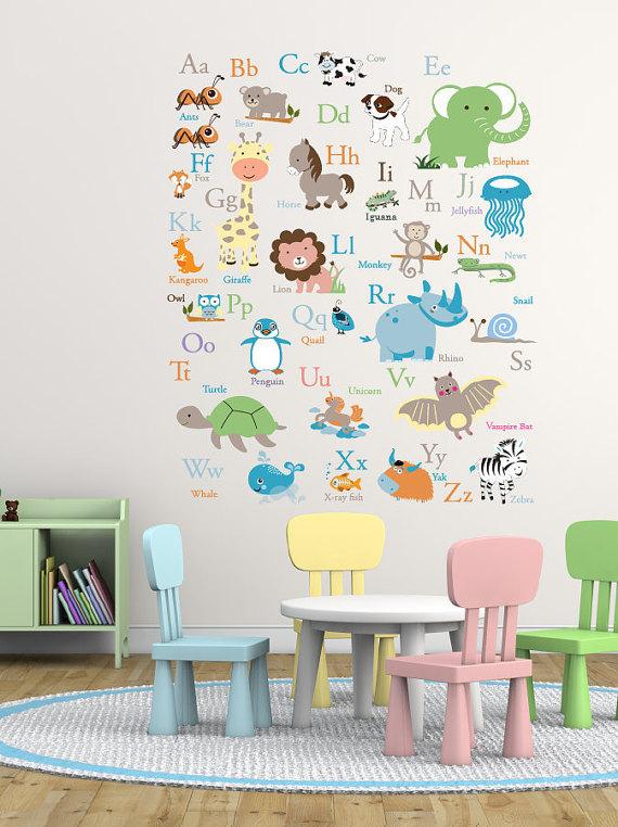 Vinyl Wall Decal Abc Wall Decal Animal Alphabet Decal Nursery