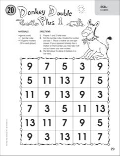 donkey double plus 1 doubles one page math game math anchor charts math games math. Black Bedroom Furniture Sets. Home Design Ideas