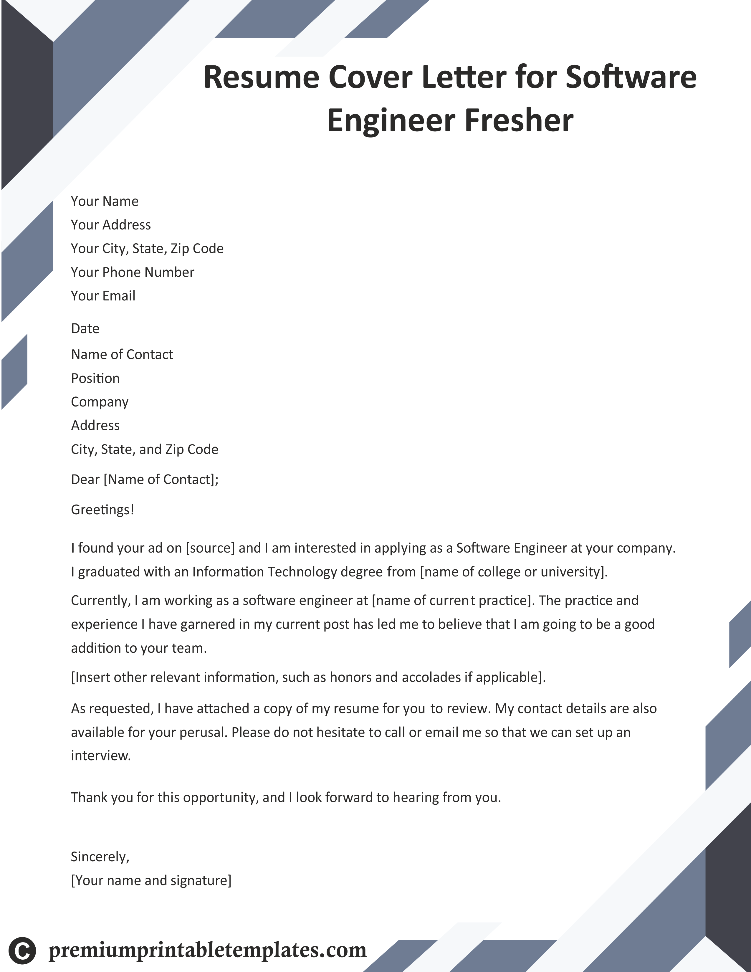 Software Engineer Resume Cover Letter Pack Of 5 Cover Letter For Resume Business Letter Template Cover Letter