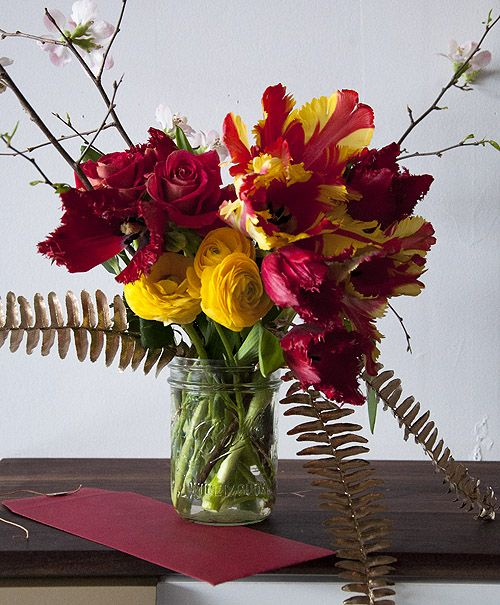 Chinese New Year Arrangement Quince Red Honeymoon Tulips Red Parrot Tulips Yel Chinese New Year Flower Parrot Tulips Arrangement Unique Flower Arrangements