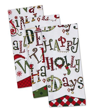 Another great find on #zulily! 'Happy Holidays' Dish Towel - Set of Three by Design Imports #zulilyfinds