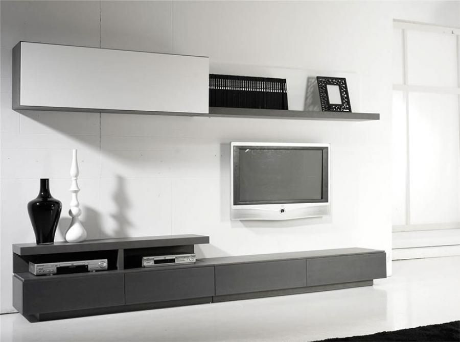All In One Contemporary Wall Storage System Shelving TV Unit And Cabinets