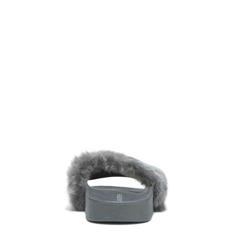 e6646900e01 Steve Madden Women s Softey Fur Slide Sandals (Grey)