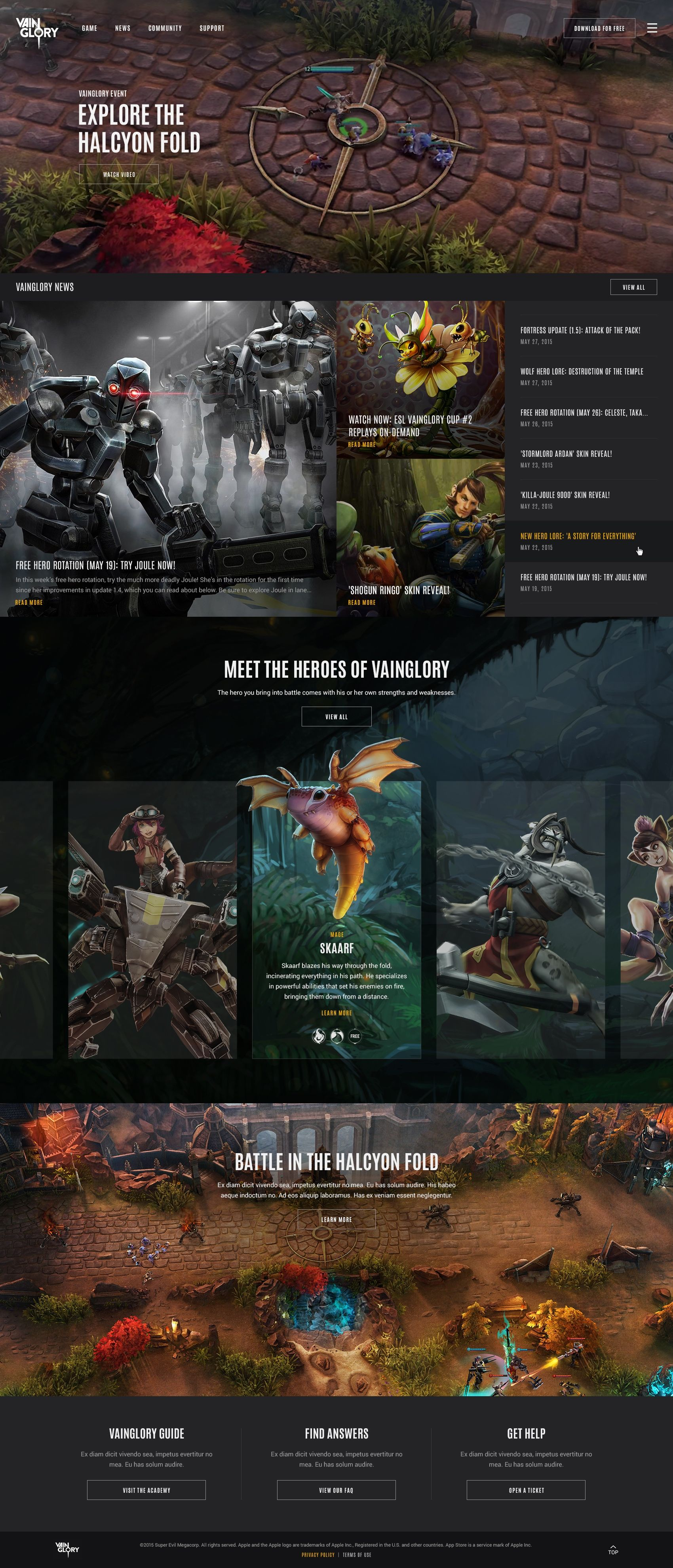 Vainglory Website Design
