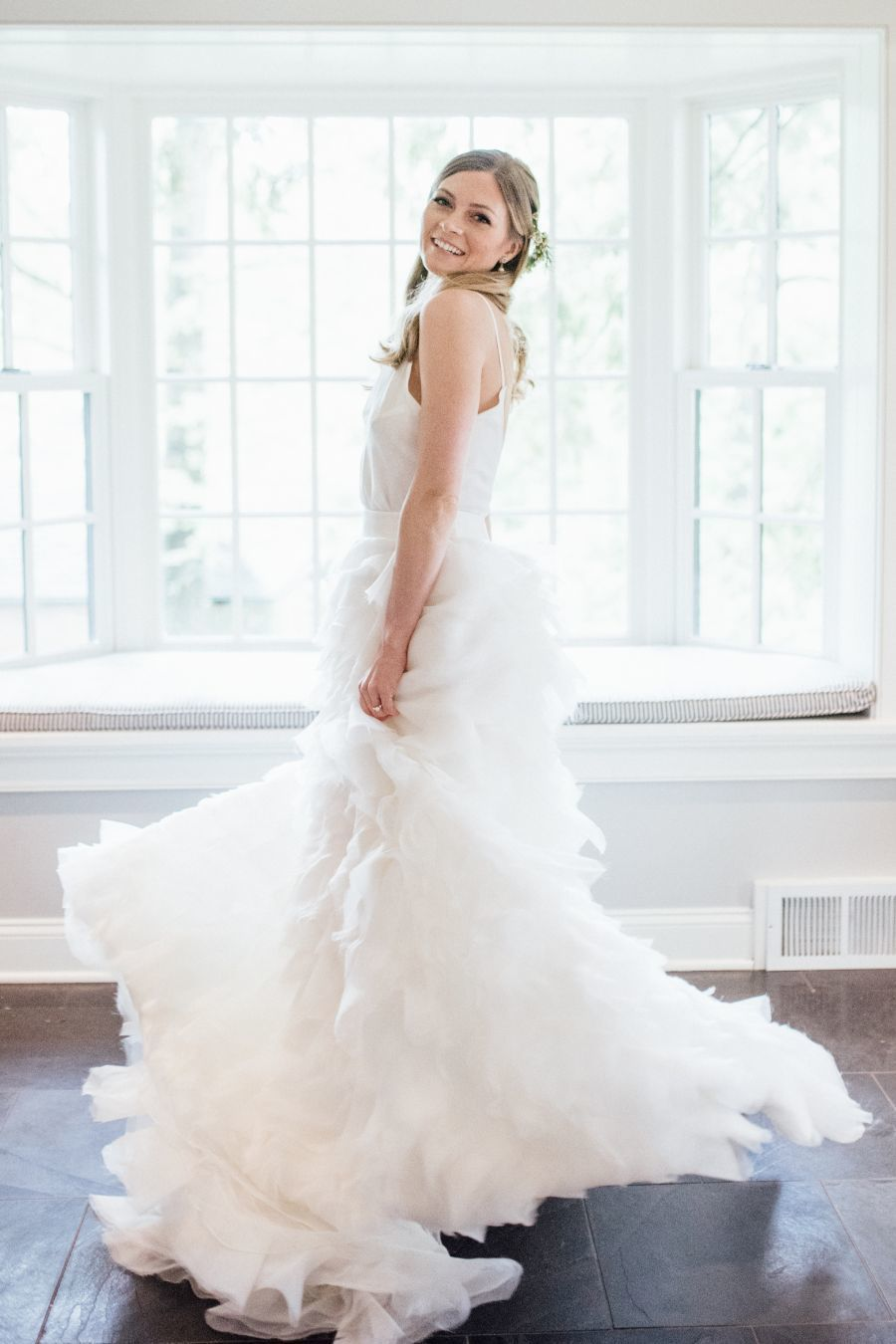 Two piece wedding dress with a silk chiffon skirt: Photography: Eva Lin Photography - www.evalinphotography.com/   Read More on SMP: http://www.stylemepretty.com/2016/07/12//