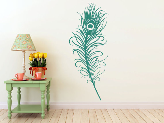 LARGE Peacock Feather Vinyl DECALwall Art Sticker By EyvalDecal, $35.00