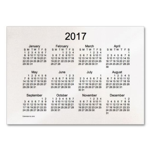 2017 Pocket Calendar Business Card Template