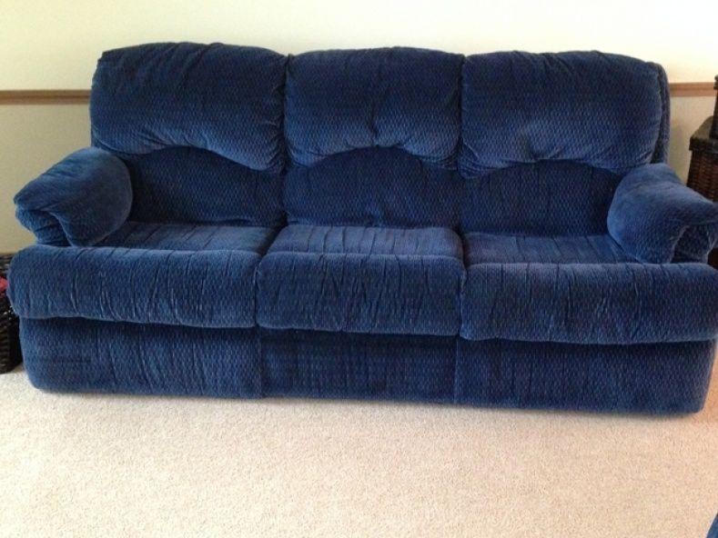 Navy Blue Reclining Sofa