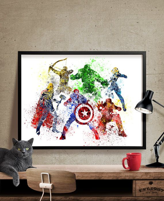 Avengers Age Of Ultron Superhero Poster Watercolor Art Print Wall Movie