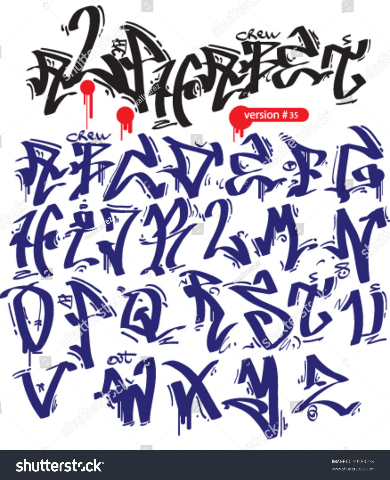 Graffiti Tattoo Lettering Generator: Graffiti Vector Alphabet Hip-hop Urban Slyle