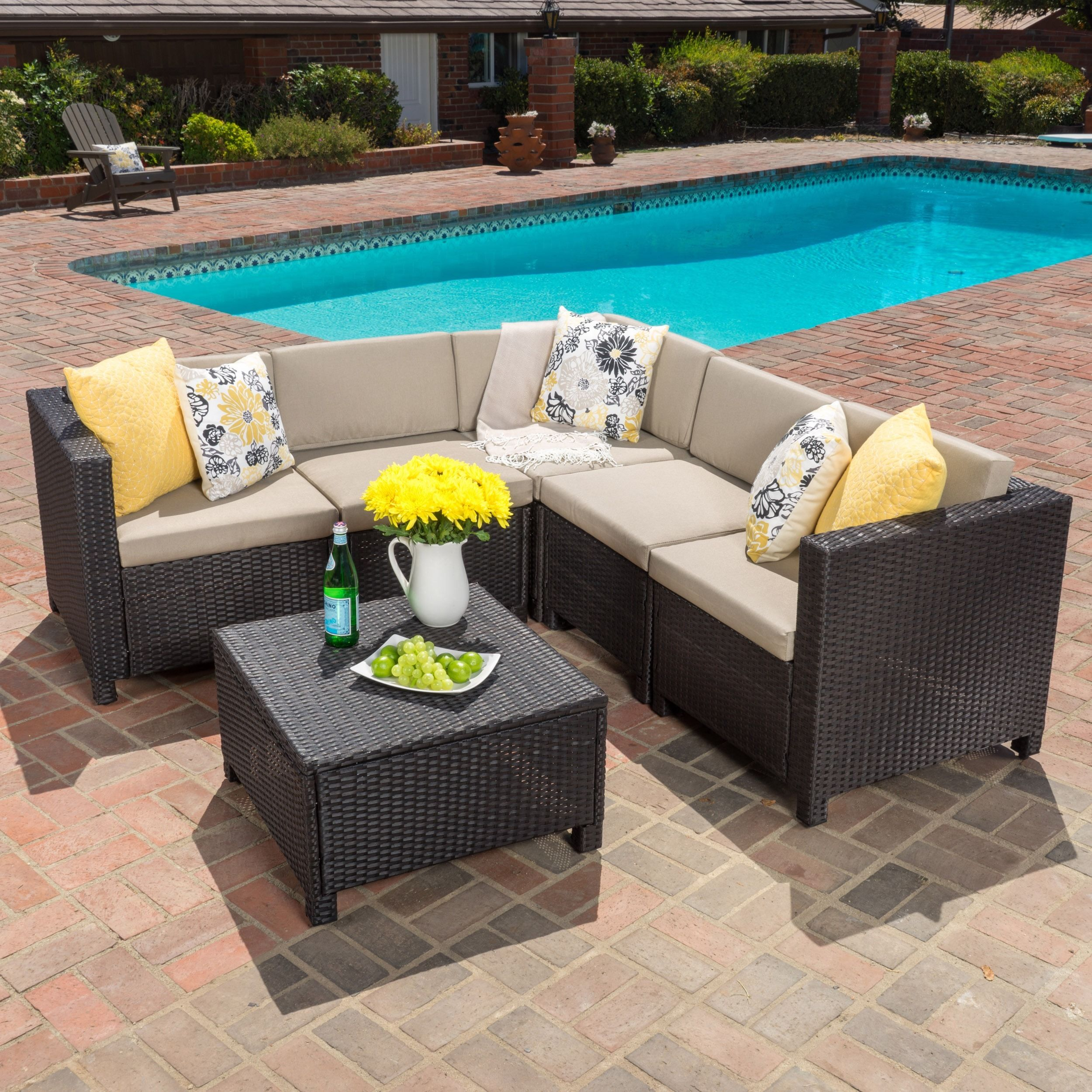 Puerta Outdoor Wicker V Shaped Sectional Sofa Set By Christopher Knight  Home (Brown), Size Sets, Patio Furniture (Fabric)