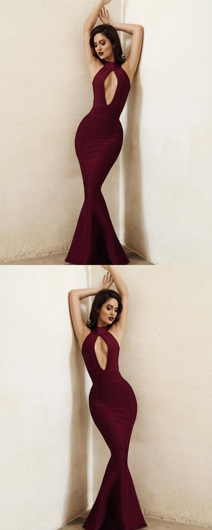 Burgundy satin prom dresses long mermaid evening dresses backless