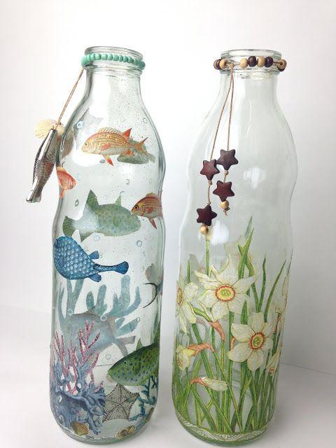 Decoupage Con Servilletas Plastificadas Disfruta Creando Decorar Botellas De Cristal Decoracion Botellas De Vidrio Decoración De Botellas
