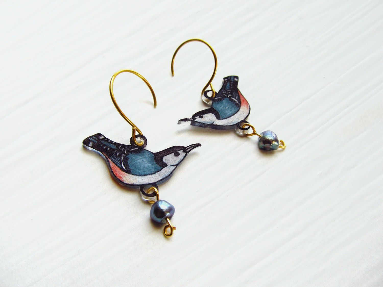 White Breasted Nuthatch Earrings Bird by PeriwinkleNuthatch, $15.00